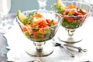 На День Валентина: Салат-коктейль из креветок и авокадо