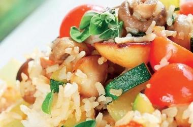 ризотто из овощей с грибами