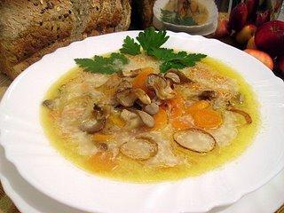 Суп морковный с грибами