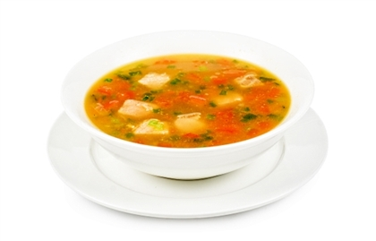 Суп из морепродуктов с острыми сухариками