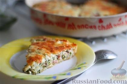 Открытый сырный пирог с ветчиной