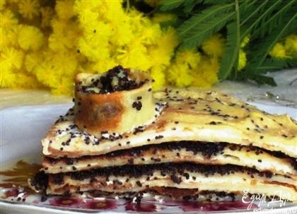Блинный торт с творожно-маковой начинкой