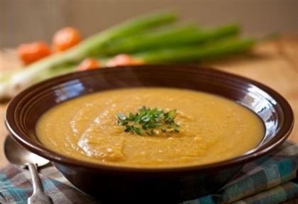 Постный суп-пюре с грибами и фасолью