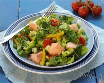 Овощной салат с норвежской семгой