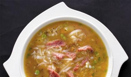 Суп макаронный с горошком